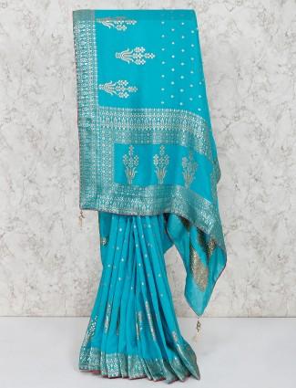 Blue silk zari weaving saree for wedding