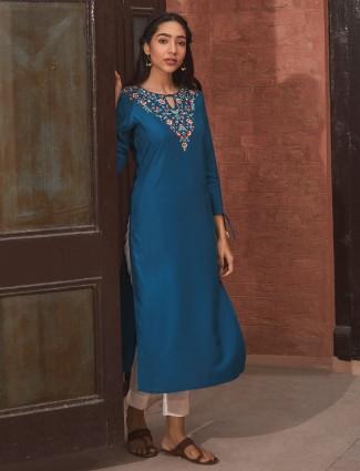 Blue thread work kurti in cotton
