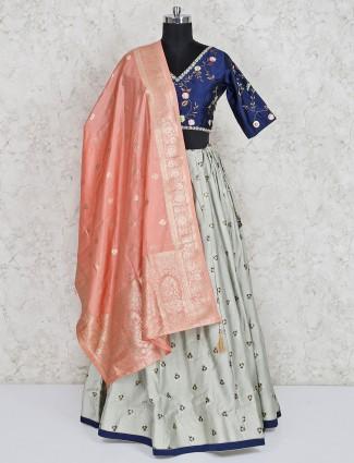 Blue wedding cotton silk lehenga choli