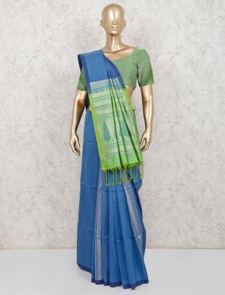 Blue wedding function pure silk saree