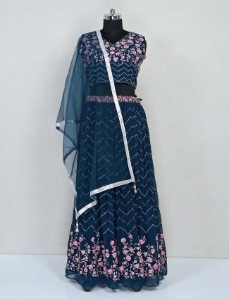 Blue wedding wear georgette designer lehenga choli
