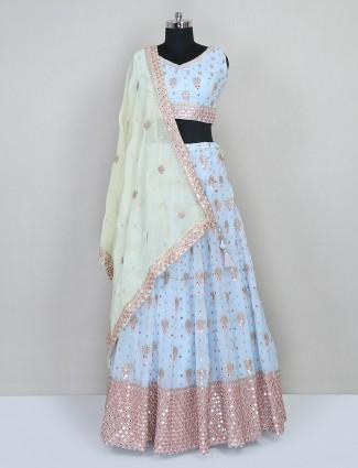 Blue wedding wear lehenga choli in net