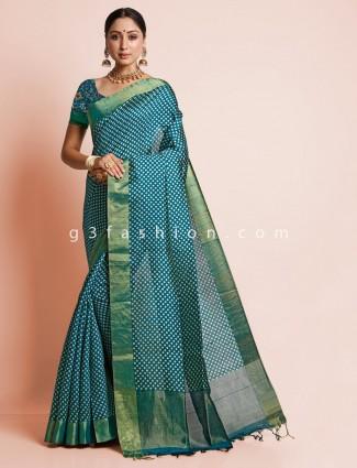 Blue zari inflate south silk for festive