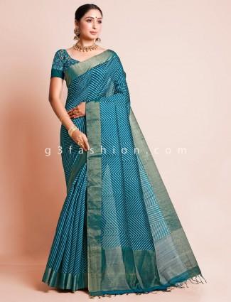 Blue zari inflated festive wear saree