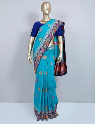 Blue zari work wedding saree