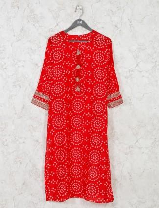 Bnadhej printed red cotton kurti