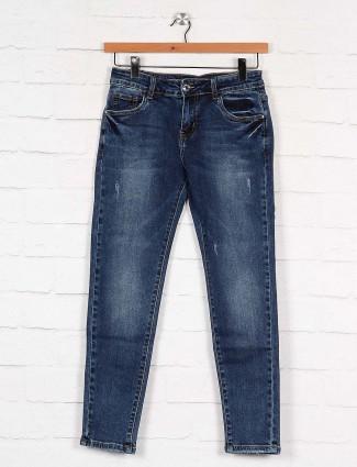 Boom blue hue denim washed slim fit regular jeans