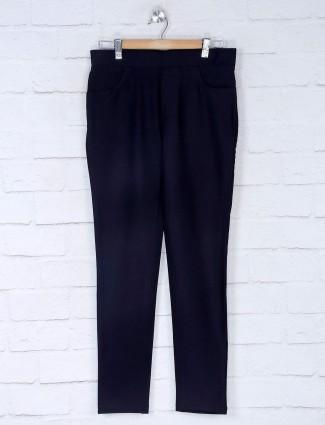 Boom navy blue cotton slim fit jeggings