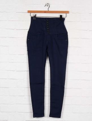 Boom solid navy blue casual wear denim high waist jeans