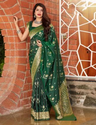 Bottal green festive wear banarasi silk saree