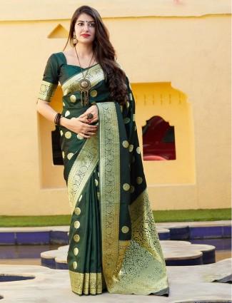 Bottle green banarasi silk saree for parties