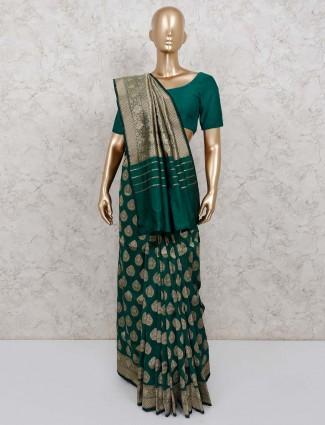 Bottle green banarasi silk saree for wedding