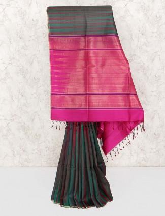 Bottle green semi silk fabric saree