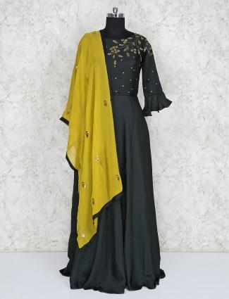 Bottle green cotton silk lovely floor length anarkali salwar suit