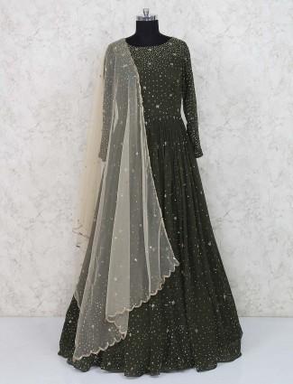 Bottle green georgette fabric gown