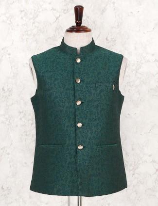 Bottle green terry rayon waistcoat for festive