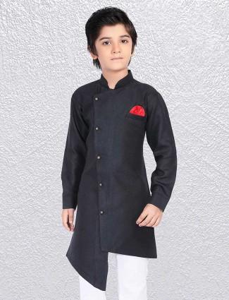 Boys black huy festive short kurta