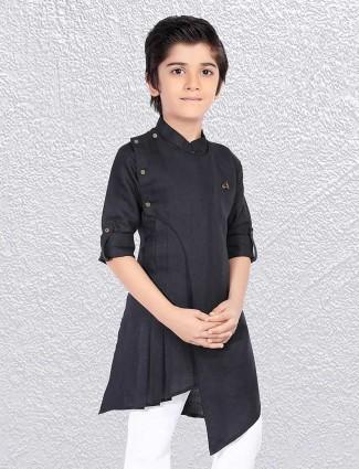 Boys black stand collar short kurta