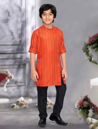 Boys orange color cotton fabric kurta suit