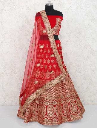 Bridal semi stitched lehenga choli in red velvet
