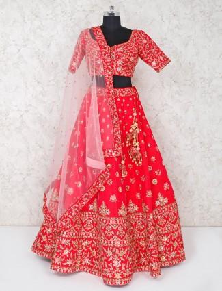 Bridal wear magenta raw silk lehenga choli
