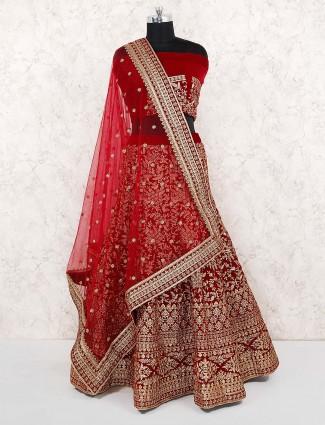 Bridal wear maroon color velvet semi stitched lehenga choli