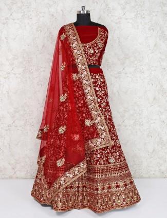 Bridal wear maroon velvet semi stitched lehenga choli
