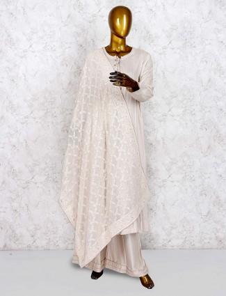 Brige hue solid cotton silk punjabi palazzo suit