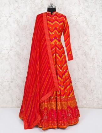 Bright orange cotton silk anarkali for wedding