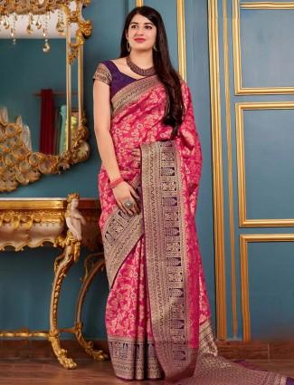 Bright pink banarasi silk saree for wedding