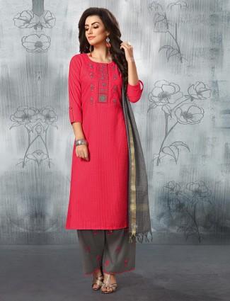 Bright pink cotton fabric lovely punjabi palazzo suit