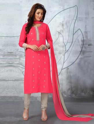 Bright pink cotton fabric punjabi churidar suit