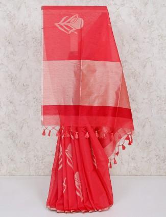 Bright pink cotton silk saree