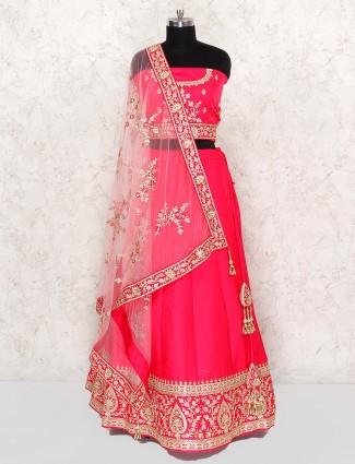 Bright pink cotton silk wedding semi stitched lehenga choli