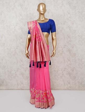 Bright pink muga silk wedding saree