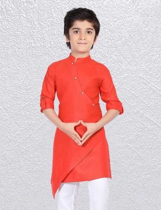 Bright red short kurta for wedding function