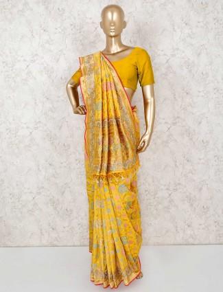 Bright yellow haldi function saree
