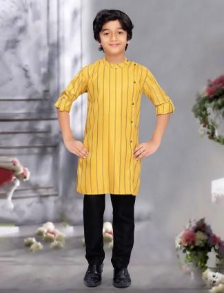 Bright yellow stripe full buttoned kurta suit