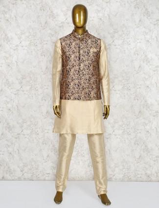 Brown and beige raw silk fabric waistcoat set