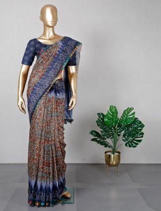 Brown and navy cotton silk festival saree