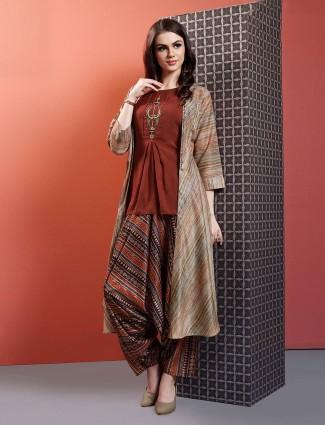 Brown casual wear kurti set