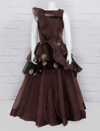Brown color designer lehenga choli in tissue silk