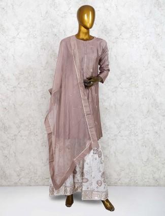 Brown color festive cotton silk punjabi sharara suit