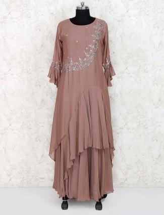 Brown color festive designer long salwar suit in cotton