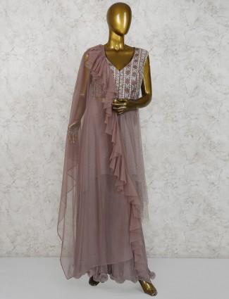 Brown color net designer palazzo suit
