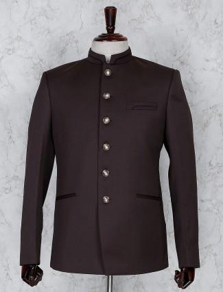 Brown color solid terry rayon jodhpuri blazer