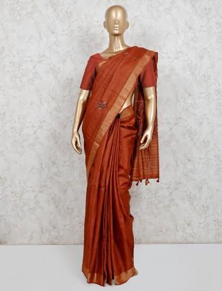 Brown cotton linen party wear saree