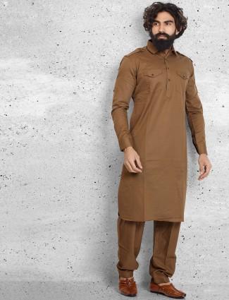 Brown cotton plain pathani suit