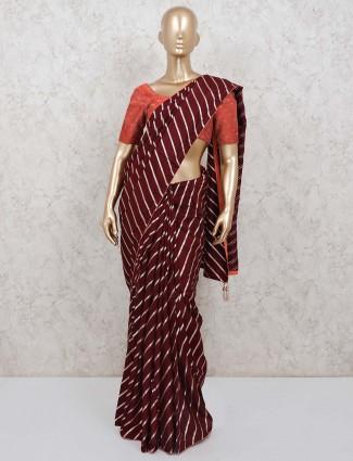 Brown cotton silk leheriya style saree