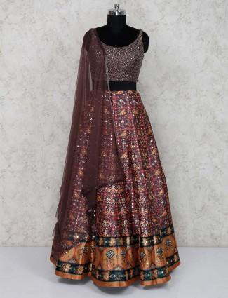 Brown cotton silk lovely lehenga choli